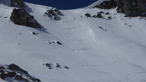 Fresh Ski tracks on the North Face of the Pramecou