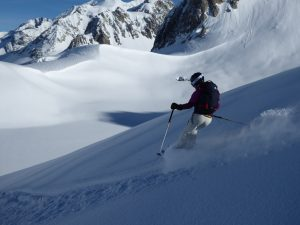 Sally skiing the powder