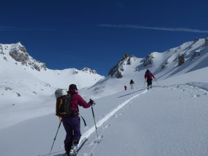 Leizel enjoying the uphill of ski touring